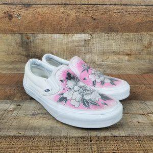 Vans Slip On Custom Flower White Sneakers Classic